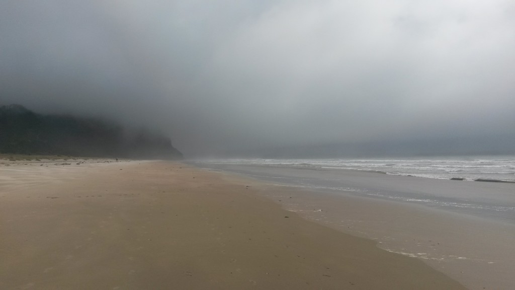 A misty rainy day on the beach in the Coromandel